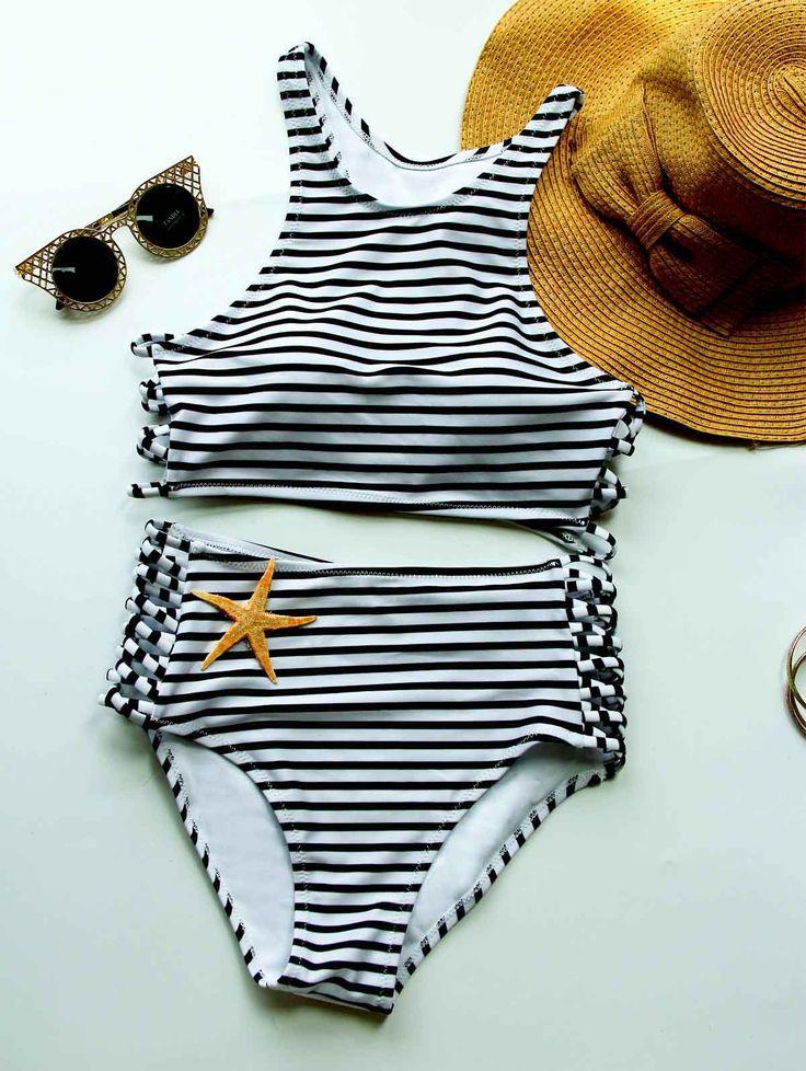Stylish High Neck Sola Striped Bikini Set For Women WHITE AND BLACK: Bikinis   ZAFUL