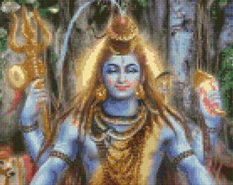 Shiva Hindu God Cross Stitch pattern - PDF - Instant Download!