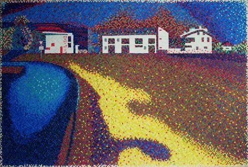 "#finearts, ""impression landscape, with buildings"", 08. 2004, #pixelism - ca. 33.700 painted pixels, acrylic on canvas, 90 x 60 cm, ■ = 4 x 4 mm, 34.43"" x 23.62"", ■ = 0.16"" x 0.16""."