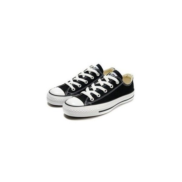Converse Chuck Taylor All Star Low-top OX Black ❤ liked on Polyvore featuring shoes, sneakers, black high low top, black high tops, black hi tops, black high top shoes and high low tops