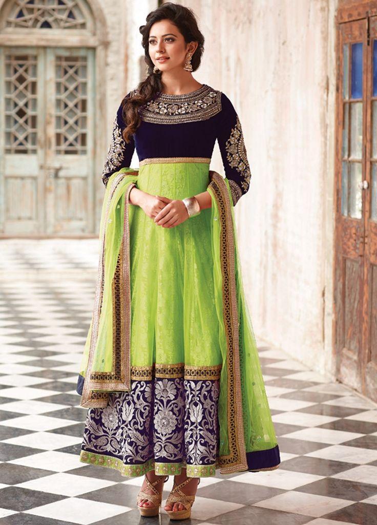 Preet Green and Blue Net Anarkali