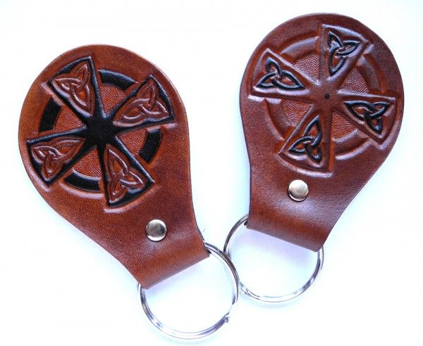 Leather key fob, carved and painted by hand, key chain