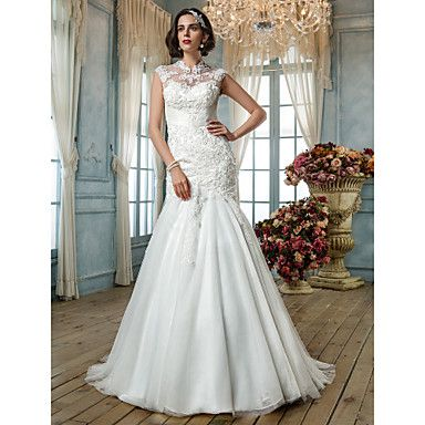 Trumpet/Mermaid High Neck Tulle Wedding Dress - USD $ 177.49 not crazy about the neck line but i like the skirt