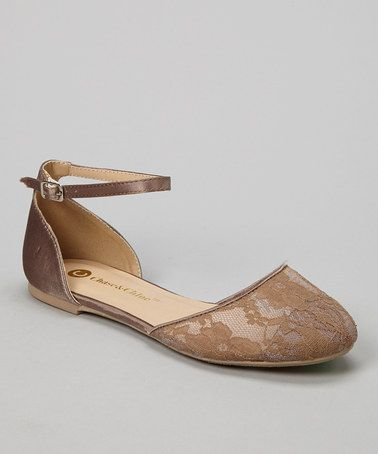 Loving this Nude Floral Lace Lena Ankle-Strap Flat on #zulily! #zulilyfinds