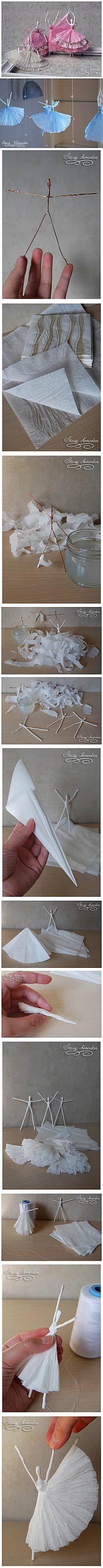 DIY papierową serwetkę baleriny | iCreativeIdeas.com na Stylowi.pl