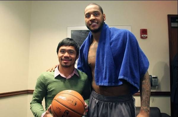 Pro Basketball player, Carmelo Anthony, is a huge boxing fan! Here he is posing with Manny Pacquiao after the Knicks game last night in NYC. Photo credit: Top Rank Boxing.