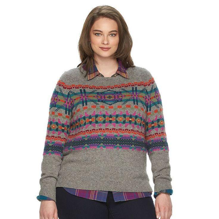 Plus Size Chaps Fairisle Crewneck Sweater, Women's, Size: 3XL, Grey