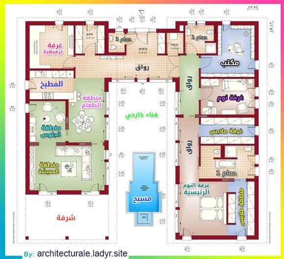 مخططات فيلا دور أرضي واحد Villa Plan How To Plan Floor Plans