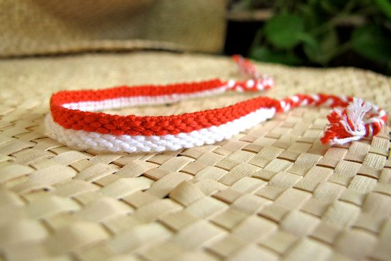 Indonesia Flag Friendship Bracelet by Dakota & Knottings on Etsy, $7.00