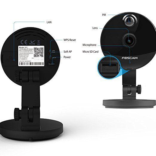 Foscam C1_ 2x Telecamera IP Wireless HD 720P da Interno, Nero, 1 Megapixel con supporto MicroSD, alta qualità video e sistema audio bidirezionale: Amazon.it: Elettronica