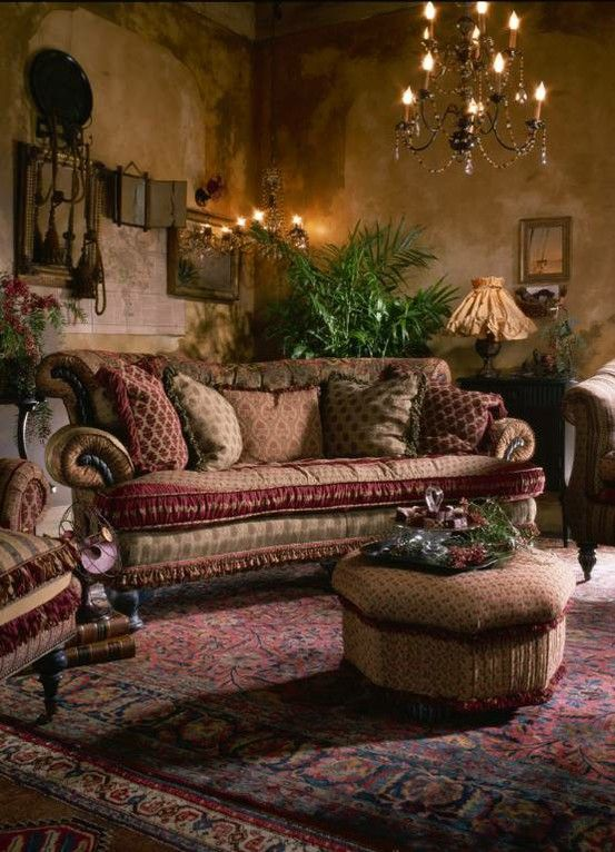 Warm jewel-toned, Tuscan styled living room.