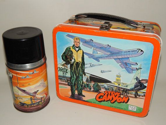 TV Lunch Boxes Steve Canyon Lunch Box & Thermos- Very Rare 1959 USA Collectable