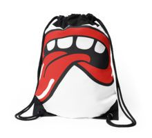 Drawstring Bag @redbubble IT IS NOT ROLLING STONES RELATED A big mouth with four teeth and a tongue reminds of The Rolling Stones logo but it's badly drawn and much more dirty. An omage, a tribute to the greatest band in the world. #rollingstones #tongue #fashion #cool #love #badlydrawn #red #white #keith #richards #mick #jagger #1962 #logo #pattern #music #rock #roll #alternative #fake #tribute #multiverse #summer #concert #parallel #universe #psichedelic