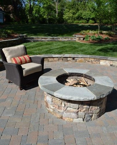 paver patio with pit outdoors