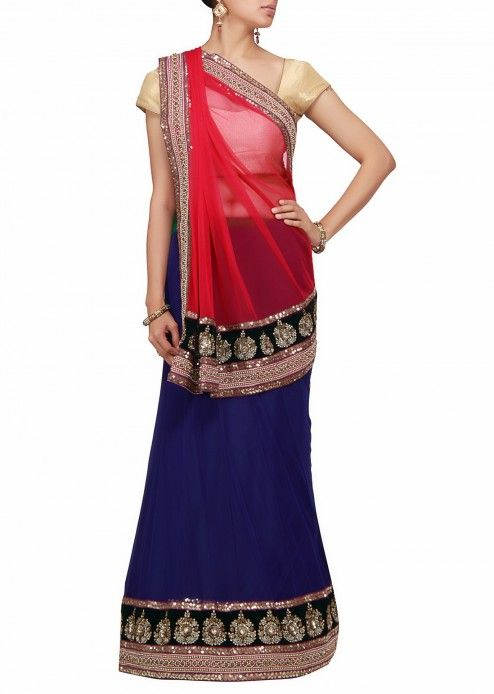 A lehenga saree in blue and pink net with kundan work by Barcode 91 Exclusive