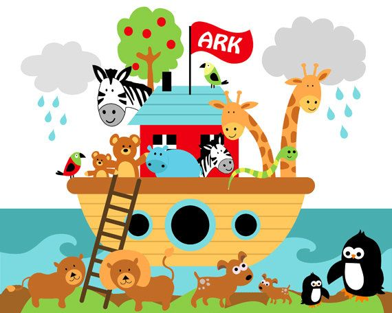 Noahs Ark Nursery Childs Room Digital Art Print - 8 x 10 - UNFRAMED
