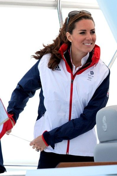Kate Middleton watches Olympic sailing looking stylish in her Team GB gear.