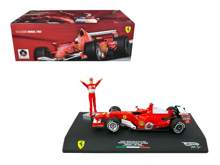 Hot wheels Michael Schumacher Ferrari F1 2006 Monza GP Italy 248 1/18 Diecast Model Car by Hotwheels - Brand new 1:18 scale diecast model of Michael Schumacher Ferrari F1 die cast model car by Hotwheels. Has steerable wheels. Brand new box. Rubber tires. Limited Edition. Made of diecast with some plastic parts. Detailed interior, exterior, engine compartment. Dimensions approximately L-9.5, W-4, H-2.75 inches. Has leather display case on the bottom and figure of Michael Schumacher.-Weight…