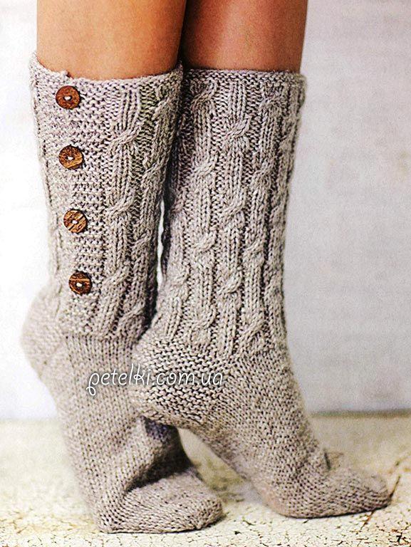 Высокие носки с косами. Описание, схема вязания