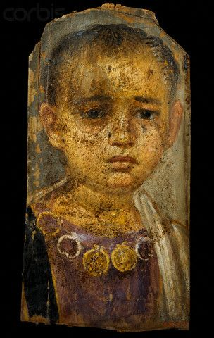 1st century A.D. --- A Fayum portrait of a little girl from Hawara, Egypt. The mummy of the little girl was found with the mummy of Demos, who may have been the child's mother. --- Image by © Sandro Vannini/Corbis