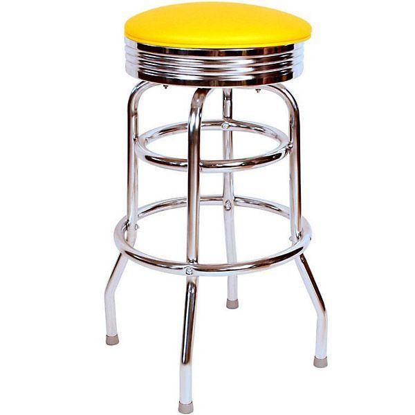 Richardson Retro Round Top Bar Stool Chrome Frame Chrome Bar Stools Bar Stools Swivel Bar Stools