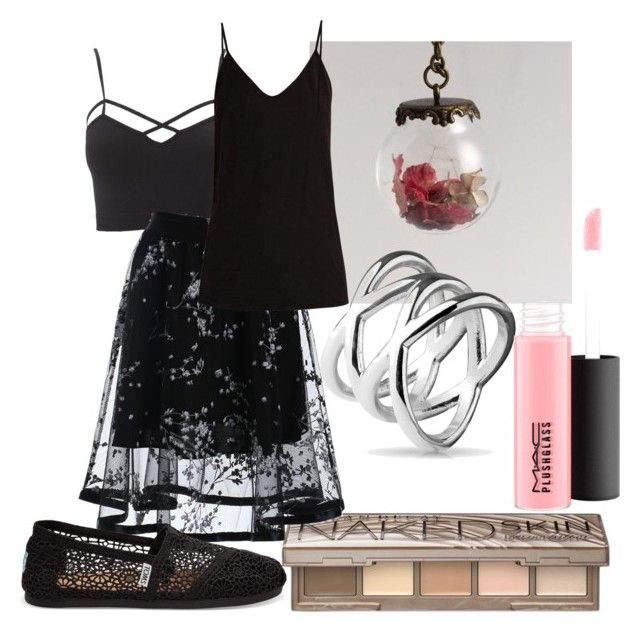 """""""skirt outfit"""" by zombiebarbie1333 on Polyvore featuring Charlotte Russe, Urban Decay, Skin, MAC Cosmetics, TOMS and plus size clothing"""