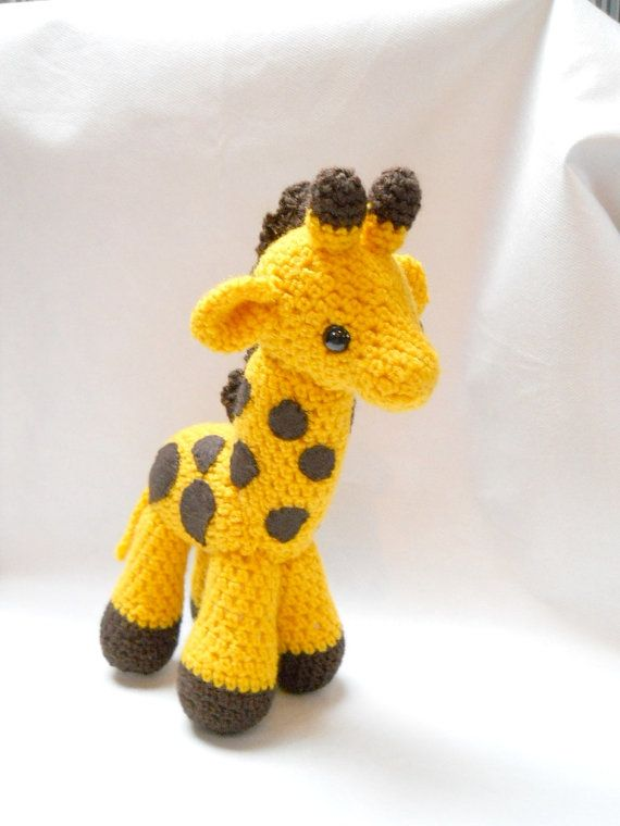 giraffe, Amigurumi, crocheted animal, plush animal, yellow, art doll, soft sculpture, Gerry