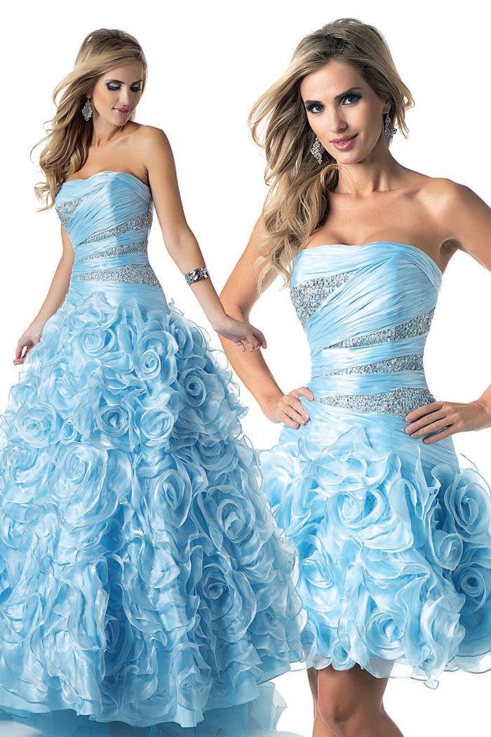 5 day delivery on Blue Quinceanera ball gown with Removable Skirt