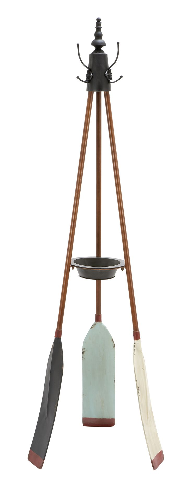 Rowing Oar Coat Rack With Multiple Hooks
