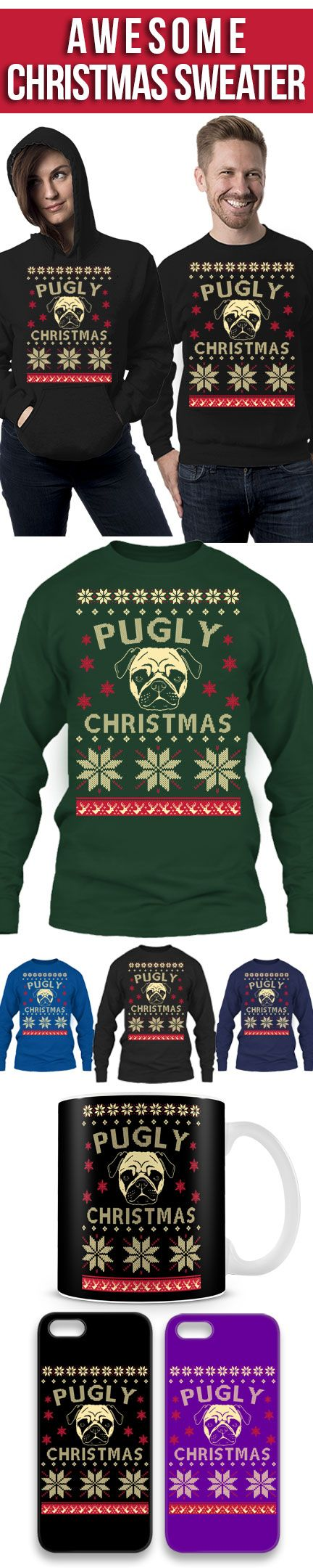 Pugly Ugly Christmas Sweater! Click The Image To Buy It Now or Tag Someone You Want To Buy This For. #pug