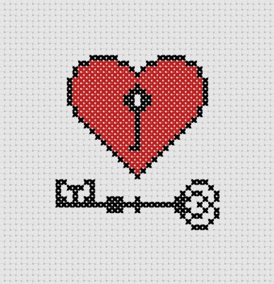 Key to My Heart Printable Cross Stitch Pattern (PDF) Red Lock Love Unique Needle Craft. $1.00, via Etsy.