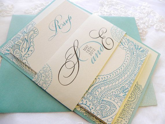 LOVE THE LAYERS Mehndi Layered Wedding Invitations In Ivory Aqua By Citlali 350