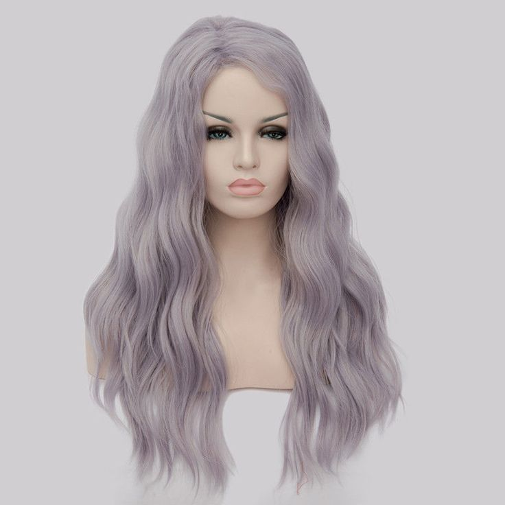 65cm Best Seller Purple Wigs Synthetic Long Curly Wavy Female Wig Cosplay Fashion Natural Cheap Hair Bang Party