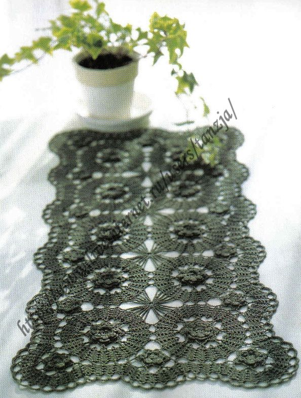 Bruges lace green doily with pattern