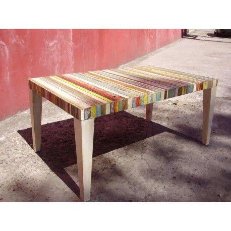 Mesa baja de madera de demolición. Tamaño: 60 x 100 x 45h cm Patas de madera. Al ser madera reciclada no se puede elegir el color exacto. Podes elegir el tono de la tapa: pasteles fuertes fríos fuertes cálidos (tierras) en madera indistinto.