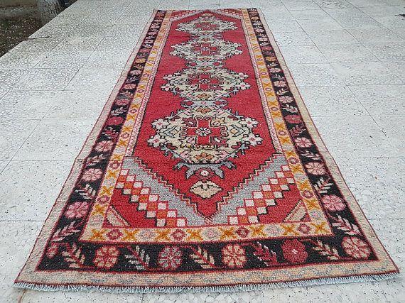 Muted Wool Turkish Carpet Vintage Flatweave Hand Knotted Rug