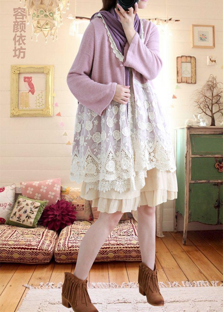 Японский симпатичный в стиле «Mori Girl» и Лолита осень Кружево лоскутное кардиган женский v-образным вырезом свободные фиолетовый Кружево вязать длинный кардиган свитер Пальто и пуховики