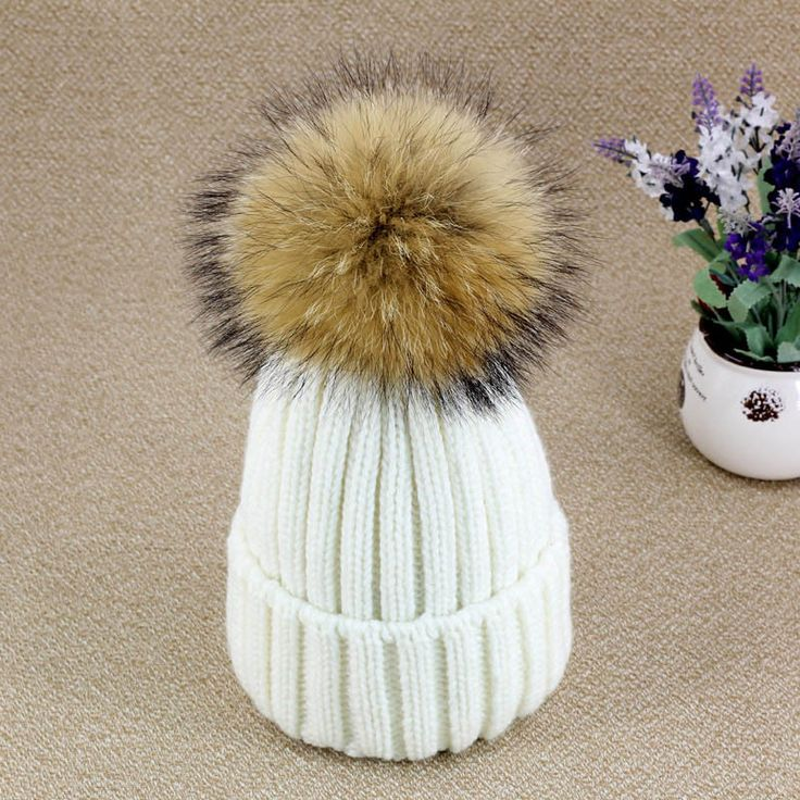 2015 Women's Hats Candy Color Knitted Winter Hats For Women Knit Cap Crimping Raccoon Faux Fur Ball Beanie Female Thick Warm Hat