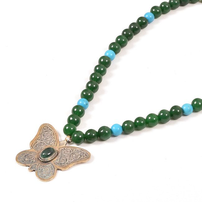 Buy online Handcrafted Green Precious Beads Necklace With Antique Afghani Butterfly Pendants 10012877