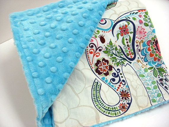 Boho Chic Elephant Baby Blanket with Super Soft Minky - Available in lots of colors!
