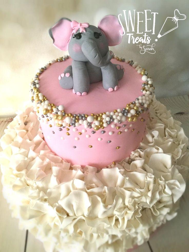 Elephant Cake Pink with Ruffles #elephantbirthday #elephantbabyshower