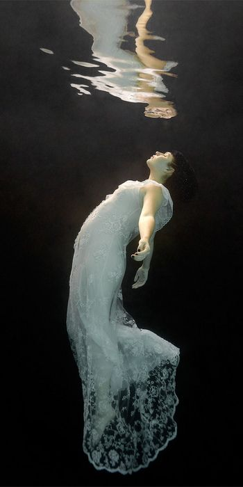 woman under water