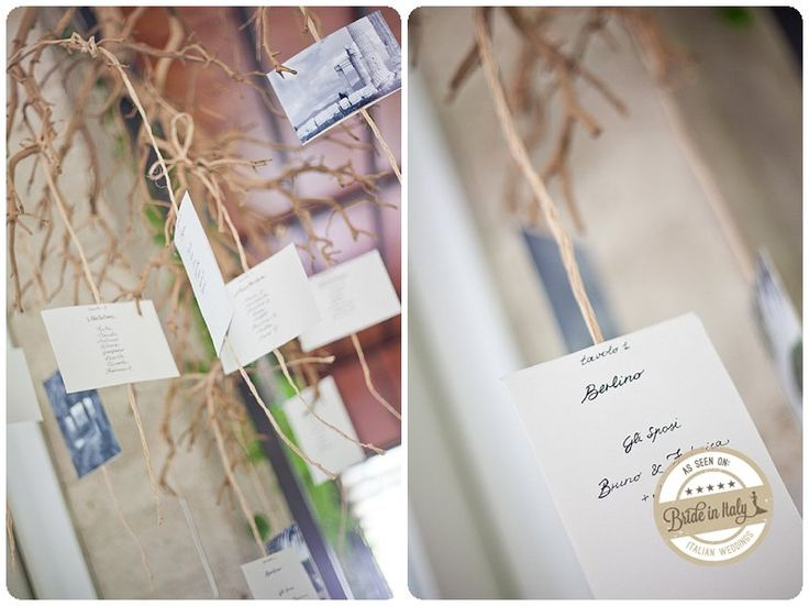 Diy hanging seating chart with photograps and postcards #diy #italianstyle #budget ph Whitephotography http://www.brideinitaly.com/2013/05/whitephotography-caiazzo.html