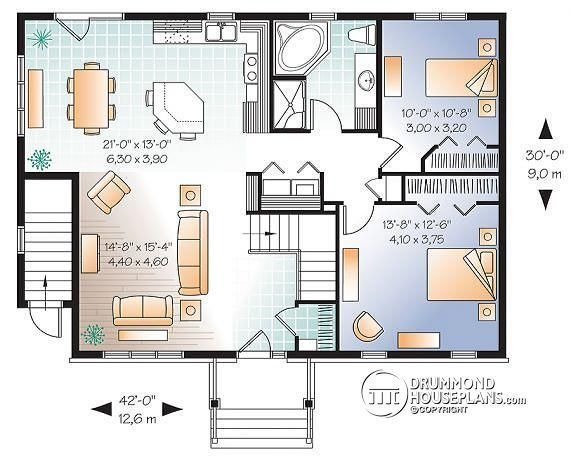 1st Level 3 Bedroom House Plan With Basement Apartment Apartment With One Bedroom And Open Floor P Basement House Plans Apartment Floor Plans Apartment Layout