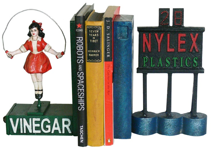 Two Melbourne icons turned into a pair of cast iron bookends: Skipping Girl and NYLEX from OSHI