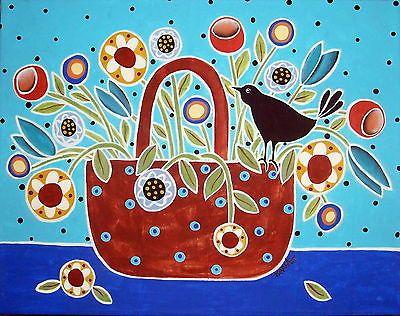 Alfombra De Enganche Artesanía Papel Patrón Pájaro en cesta abstracto arte popular Karla Gerard