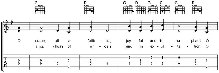 O Come All Ye Faithful, Free Guitar Sheet Music and MP3