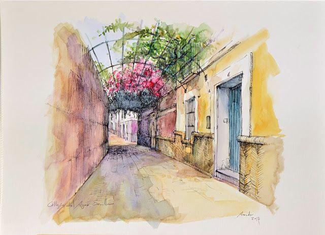 Calle jón del Agua, barrio de santa Cruz, Sevilla. Acuarela y Tinta. 407x297mm. Papel canson 300gr