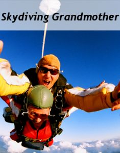 A skydiving 80-year-old will be telling us about her experience.