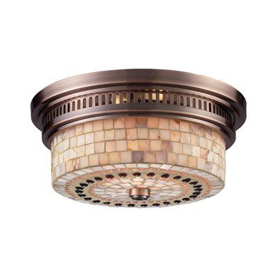Westmore Lighting 2 Light Chadwick Cappa Shell Flush Mount Ceiling Light